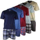 Herren Schlafanzug Shorty T-Shirt uni Hose im Karolook kurz 2-tlg in 5 Farben