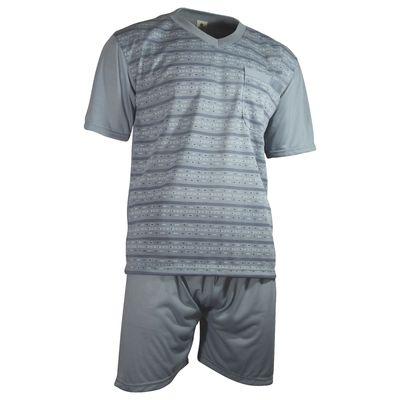 Herren Schlafanzug kurz Shorty T-Shirt bedruckt Hose uni 2 Typen in 6 Farben – Bild 11