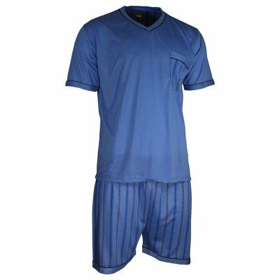 Herren Schlafanzug kurz Shorty T-Shirt bedruckt Hose uni 2 Typen in 6 Farben – Bild 7