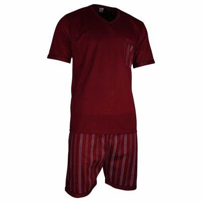 Herren Schlafanzug kurz Shorty T-Shirt bedruckt Hose uni 2 Typen in 6 Farben – Bild 8