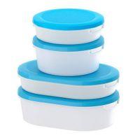 in weiß/blau; 4er Set; transparent; Mirkowellen geeignet; spülmaschinenfest