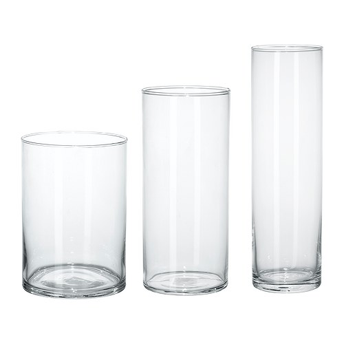 ikea cylinder vasen aus klarglas 3er set blumenvasen glasvasen ebay. Black Bedroom Furniture Sets. Home Design Ideas