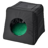 in schwarz; mit Kissen in grün; (38x38x37cm)