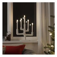 in weiß; 5-armig; Zweige; Weihnachtsbeleuchtung