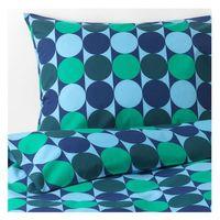 in blau/grün; 100% Baumwolle; 2tlg.; (140x200/80x80cm)