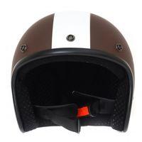 Helm ähnlich wie retro Vespa Helm, Motorradhelm oder Rollerhelm (braun mit weißem Stern); Größe XL (60-62cm) 006