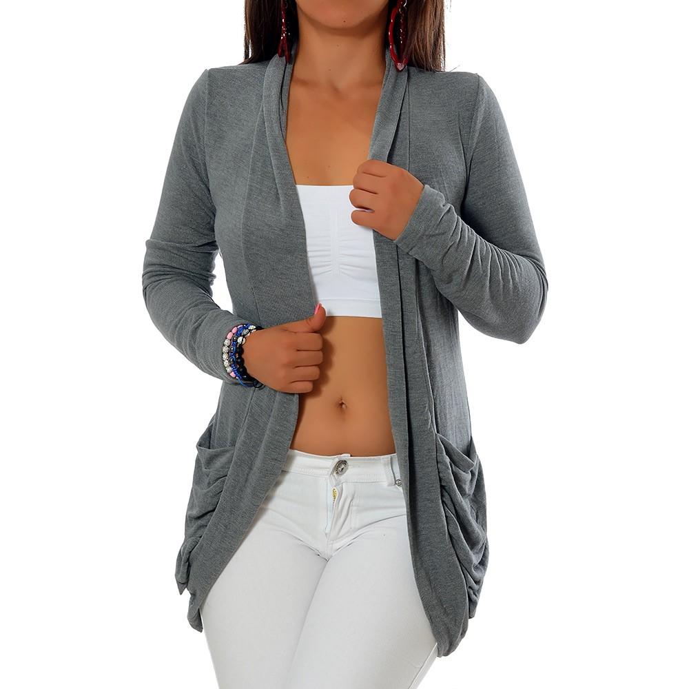low priced ca78b 0d732 Details zu Damen Longshirt Strick Cardigan Jacke Strickjacke Kleid Bluse  Lang Taschen G344