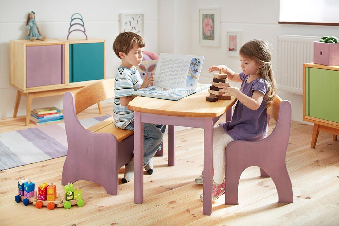 Set Levin Kindersitzgruppe komplett, Tisch, Bank, Stuhl