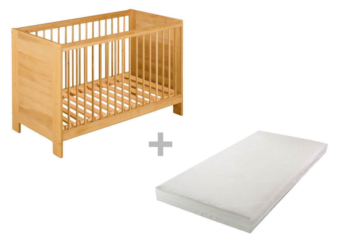 biokinder set babybett kinderbett matratze massivholz umbaubar 60 x 120 ebay. Black Bedroom Furniture Sets. Home Design Ideas