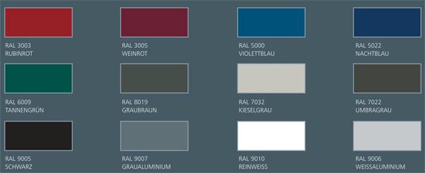 Verfügbare RAL Farben