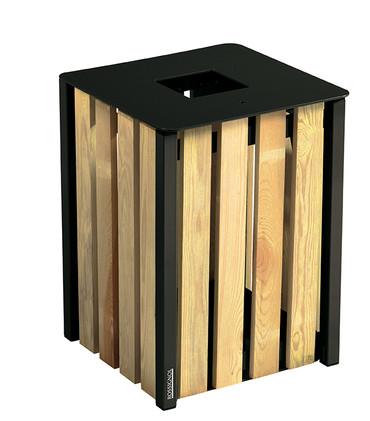 Abfallbehälter aus Holz zum Aufstellen oder Befestigen, 50L in 3 Farben – Bild 2