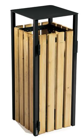Abfallbehälter aus Holz zum Aufstellen oder Befestigen, 110L in 3 Farben – Bild 2