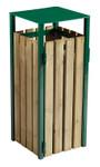 Abfallbehälter aus Holz zum Aufstellen oder Befestigen, 110L in 3 Farben 001