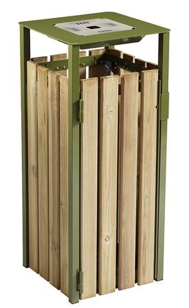 Abfallbehälter aus Holz mit Ascher 110L in 3 Farben – Bild 4
