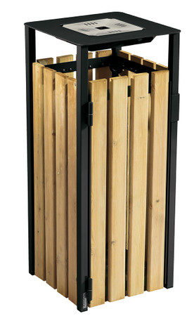 Abfallbehälter aus Holz mit Ascher 110L in 3 Farben – Bild 1