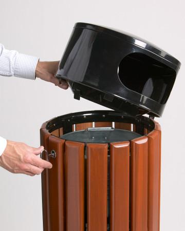 Abfallbehälter aus Holz zum Aufstellen oder Befestigen in 3 Farben, 40L – Bild 4