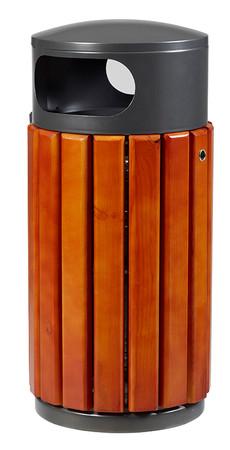 Abfallbehälter aus Holz zum Aufstellen oder Befestigen in 3 Farben, 40L – Bild 1