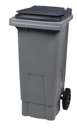 Mülltonne 80 Liter aus Kunststoff mit 2 Rädern in Farbe Grau/Grau ohne Schiene