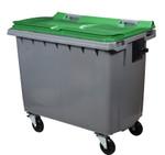 Mülltonne 660 Liter aus Kunststoff mit 4 Rädern in mehreren Farben ohne Schiene