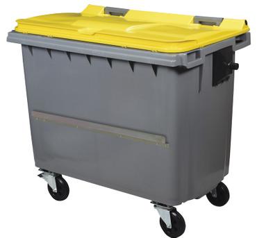 Mülltonne 660 Liter aus Kunststoff mit 4 Rädern in mehreren Farben mit Schiene