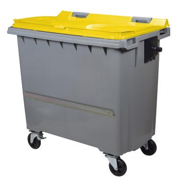 Mülltonne 770 Liter aus Kunststoff mit 4 Rädern in mehreren Farben mit Schiene