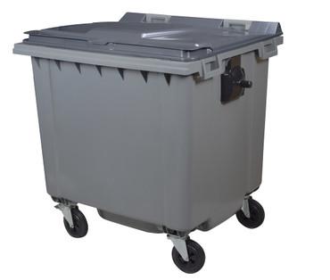 Mülltonne 1000 Liter aus Kunststoff mit 4 Rädern in Grau ohne Schiene