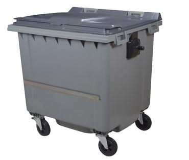 Mülltonne 1000 Liter aus Kunststoff mit 4 Rädern in Grau mit Schiene