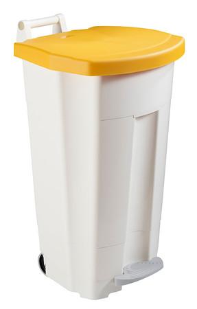 Fahrbarer Treteimer 90 Liter,  Korpus weiß, HACCP in 5 Farben.