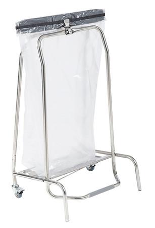 Fahrbarer Abfallsammler aus Edelstahl mit Fußpedal, 110L – Bild 1
