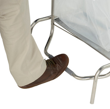 Fahrbarer Abfallsammler aus Edelstahl mit Fußpedal, 110L – Bild 4