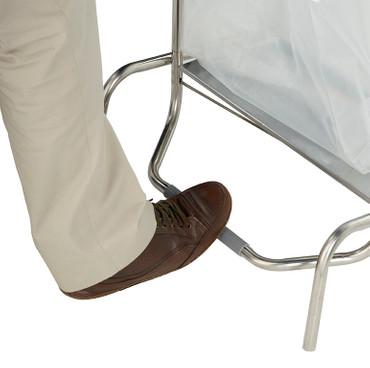 Fahrbarer Abfallsammler mit Fußpedal aus Edelstahl AISI 304 ( 18/10 ), 110L – Bild 3