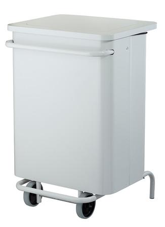 Fahrbarer Treteimer 70L in Weiß, HACCP