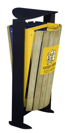 Abfallbehälter mit Holzverkleidung und Standfuss, 2x60L – Bild 5