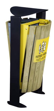 Abfallbehälter mit Holzverkleidung und Standfuss, 2x60L – Bild 1