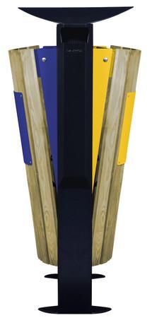 Abfallbehälter mit Holzverkleidung, Standfuss und Ascher, 2x60L – Bild 2