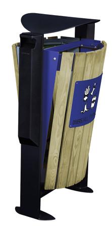 Abfallbehälter mit Holzverkleidung, Standfuss und Ascher, 2x60L – Bild 7