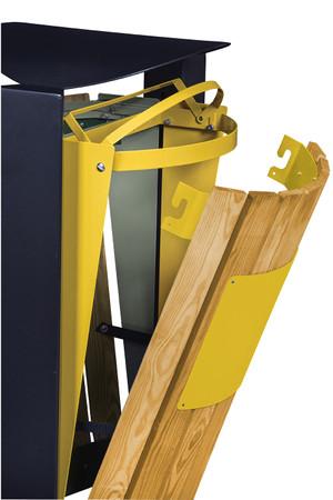 Abfallbehälter mit Holzverkleidung, Standfuss und Ascher, 2x60L – Bild 10