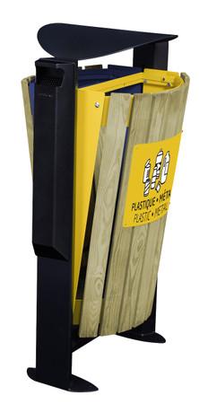Abfallbehälter mit Holzverkleidung, Standfuss und Ascher, 2x60L – Bild 1
