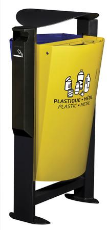 Abfallbehälter aus Stahl mit Standfuss und Ascher, 2x60L – Bild 7