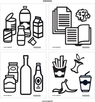 Zubehör: Set mit 3 selbstklebenden Bildtafeln für Abfalltrennung – Bild 1