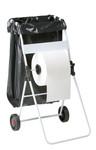 Fahrbarer Müllsackhalter mit Abwickelvorrichtung für Papier 001