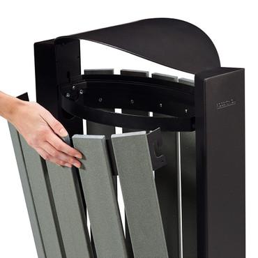 Abfallbehälter mit Standfuss, Holzoptik, 100% RECYCELBAR, 60L – Bild 2