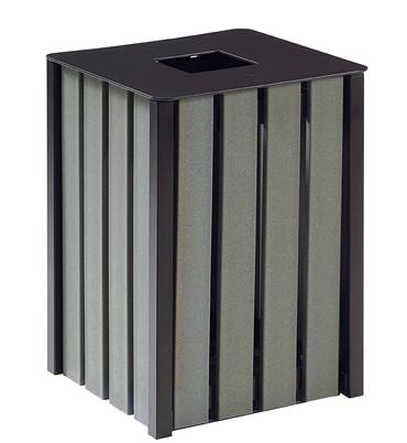 Abfallbehälter zum Aufstellen oder Befestigen, Holzoptik, RECYCELBAR, 50L