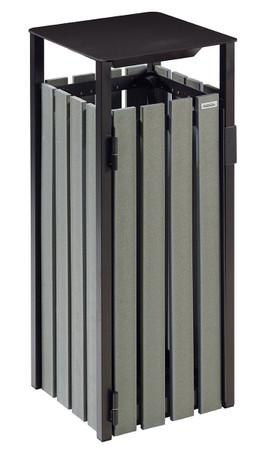 Abfallbehälter zum Aufstellen oder Befestigen, Holzoptik, RECYCELBAR, 110L