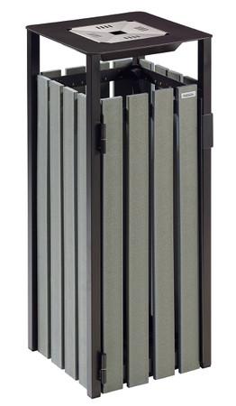 Abfallbehälter mit Ascher zum Aufstellen oder Befestigen, Holzoptik, RECYCELBAR, 110L