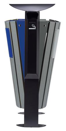Abfallbehälter mit Standfuss und Ascher, Holzoptik, 100% RECYCELBAR, 2x60L – Bild 5