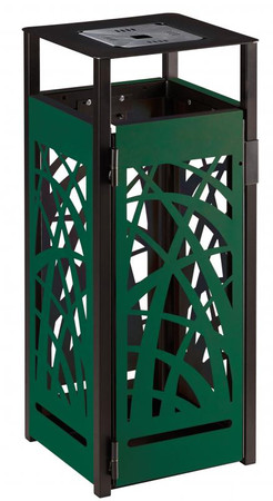 Abfallbehälter aus Stahl mit Ascher 110L in mehreren Farben – Bild 7