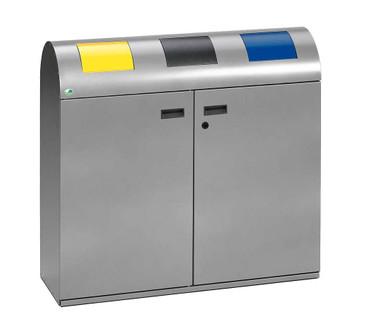 Wertstoffsammelstation mit Einwurfklappen in mehreren Ausführungen, 3 x 80L – Bild 1