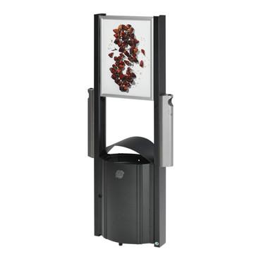 Abfallbehälter mit Werbeflächen 50L und 2 Ascher je 3,5L