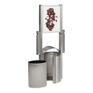Abfallbehälter mit Werbefläche 50L und 2 Ascher je 3,5L aus Edelstahl